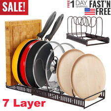 7 Layer Expandable Kitchen Cabinet Pan and Pot Lid Organizer Stand Rack Holder