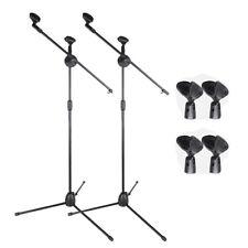2pcs 360-degree Rotating Microphone Stand Mic Clip Folding Boom Arm Metal Tripod