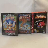 Sonic the Hedgehog 1 + 2 Sonic & Knuckles Sega Genesis Video Game Lot Bundle