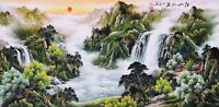 HANDPAINTED ORIENTAL ASIAN ART CHINESE SANSUI WATERCOLOR PAINTING-Mountains view