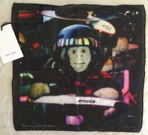 PAUL SMITH Men's Pocket Square Adventures Of Mr. Brown Monkey Cotton NWT $75 USD