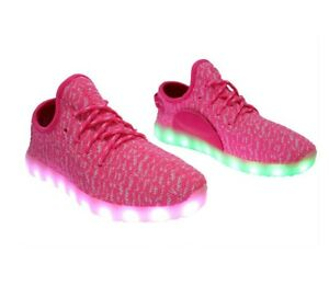 7 LED Light Up Lace Up Luminous Shoes Sneaker  USB Rechargeable PINK for WOMEN