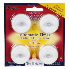 LED Tea light  4 pack   Battery Included with Timer Feature DA  6205-05