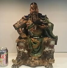 "Giant Antique Chinese Mudman Figure Warrior Genghis Khan - 18"" hi - Tongzhi?"