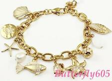 Brighton Marine Charm Gold Shell Starfish Fish Bracelet - NWT $98