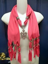 Long Pink Scarf with Jewelry