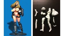 1/20 FIGURINE RESINE : PIN-UP EN TENUE STYLE MAD MAX SEXY BOTTES BLOUSON OUVERT