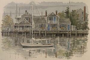 Patricia Scott Nantucket Harbor Scene Original Watercolor Painting