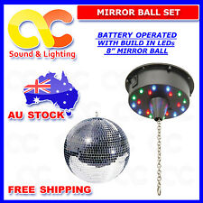 8 Inch Mirror Ball Set Motor with Built in LEDs - Battery Operated & mirror ball