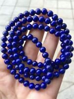 Genuine Natural Lapis Lazuli Royal Blue Gems 108 Beads Bracelet 6mm AAAAA
