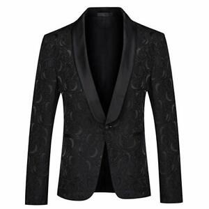 Men Black Jacquard Paisley Floral Suit Jacket Tuxedo Prom Party Suit 48R/3XL