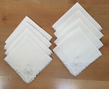 """Hand Embroidered Linen Cocktail Napkins Madeira Cutwork, LOT OF 8, 11""""x11"""""""