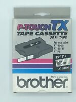"Brother P-Touch TX-1311 Black On Clear 1/2"" 50 ft For Use with PT 8000"