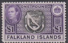Falkland Islands 1938 Mint Mounted £1 Black & Violet SG163 Cat £130