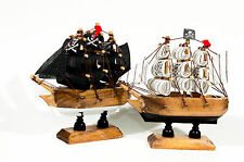 "Set of 2 diff. pirate wood small ships 4"" x 4"" black sails and white sails"