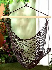 ESPRESSO HAMMOCK CHAIR ** Woven Cotton Rope~Wood~Metal * Max Wt  200 lbs ** NIB