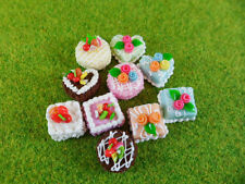 Set of 10 Mini Assorted Fruit Cakes Dollhouse Miniatures Food, Deco, Cute,Cake