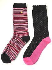 *Kate Spade Trouser Socks, Black White Red Pink, Solid Stripe / Dot Hearts, 2 Pa