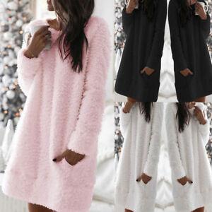 Womens Fleece Teddy Bear Fluffy Pajamas Pjs Jumper Casual Lounge Wear Sleepwear