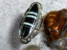 Ring Navajo Steve Francisco Size 8 Ladies Sterling Silver Jet Created Opal Inlay