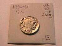 1930-S Buffalo Nickel Ch VF Very Fine Sharp Original Indian Head 5 Cent US Coin