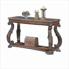 Coaster Doyle Traditional Sofa Table With Glass Inlay Top