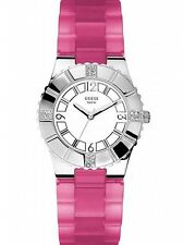 NWOT Guess U95156L1 Ladies Pink Rubber Silicone Watch