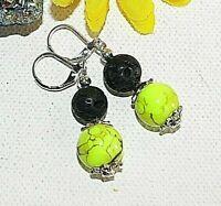 Ohrringe  Lava schwarz Glasperle neon gelb marmoriert Perlenkappen  206b