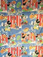 Vtg Disney Mickey Mouse Duvet Cover Cotton Bedding Sheets Blue