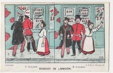 Sunday In London, Opening Hours Comic Postcard B632
