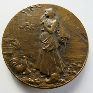 MEDAILLE BRONZE ROTY ART NOUVEAU FRENCH MEDAL AGRICULTURE LA FERMIERE GIRONDE