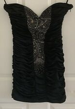 Sz M Black Short Mini Strapless Beaded Rouched Homecoming Dance Club Party Dress