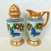 Cream Sugar Set Luster-ware Pottery Porcelain Japan Floral Hand Painted Vintage