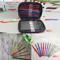 Multi Aluminum Plastic Crochet Hooks Knitting Needles DIY Weave Yarn Set