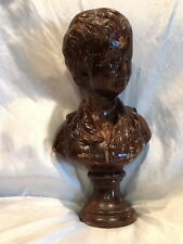 """Very Heavy Collectible Vintage Young Boy Bust Statue 16"""" Tall"""