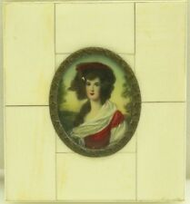 Antique Hand Painted Miniature Portrait Painting of Woman / Lady (#5)