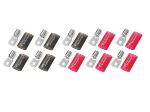 10 KnuKonceptz Tinned Copper 4 Gauge Crimp Ring Terminal w Heat Shrink Red/Black