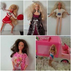 Vintage barbie doll and camper lot