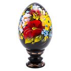 "Pysanka Handpainted Decorative Wooden Egg w/ Flowers Petrykivka Ukraine 5"" Tall"