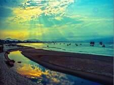NATURE LANDSCAPE VIETNAM DANANG SUN BEAM CLOUD SEA BLUE GREEN POSTER ART BB1517B
