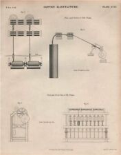 Cotton Manufacture. Tube frame. Fly frame. BRITANNICA 1860 old antique print