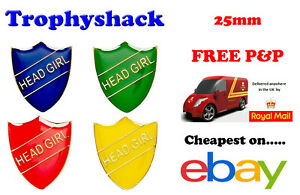 Head Girl Shield Enamel Badges - Free P&P 4 colours Red Blue Green Yellow