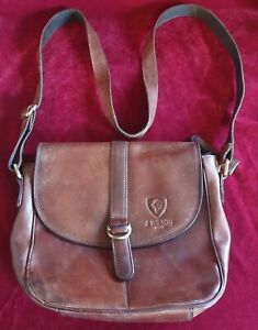 """J Wilson brown thick leather unisex satchel styled bag, brass detail, 10"""" x 10"""""""