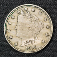 1911 5c LIBERTY V NICKEL, XF/AU COIN *COUNTERSTAMPED* LOT#S867