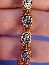 "Saint Bracelet ST Padre Pio Healing Bracelet Brown Cord Saint Medal 6-9"""