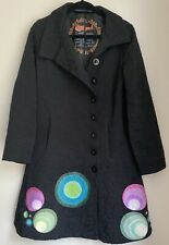 BLACK DESIGUAL COAT EU 42 12/14 GLAM SMART TOWIE WINTER CHIC WORK FANCY WEAR FUN