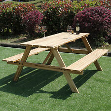 5FT Picnic Table Bench Pressure Treated Wood Pub Garden Outdoor Playground Seat