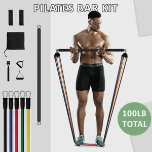 Exercise Pilates Bar Kit Resistance Bands Yoga Fitness Workout Gym Exercise Home