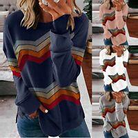 Women Striped Long Sleeve T-shirt Tops Ladies Casual Jumper Blouse Pullovers LIU