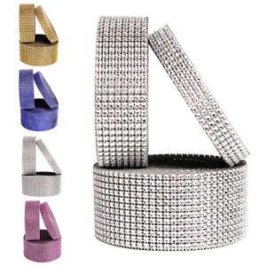 10 Yards 30ft 8 Row Home Diamond Rhinestone Mesh Ribbon Bling Wrap Roll Craft SA